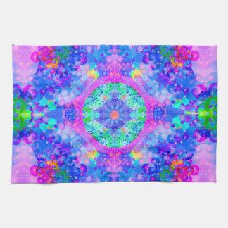 Purple and Green Kaleidoscope  Fractal Art Tea Towel