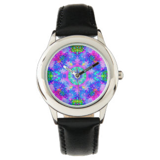 Purple and Green Kaleidoscope Fractal Art Wrist Watches