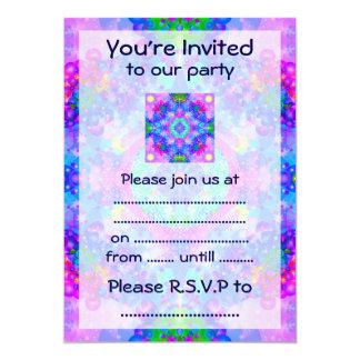 "Purple and Green Kaleidoscope Fractal 5"" X 7"" Invitation Card"