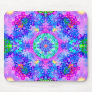 Purple and Green Kaleidoscope Fractal Mouse Mat