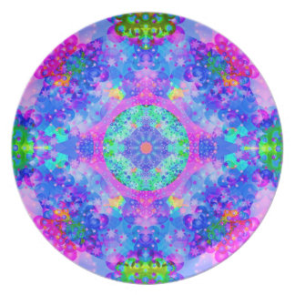 Purple and Green Kaleidoscope Fractal Plate