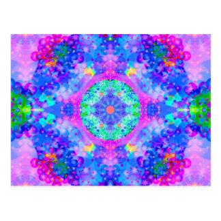 Purple and Green Kaleidoscope Fractal Postcard