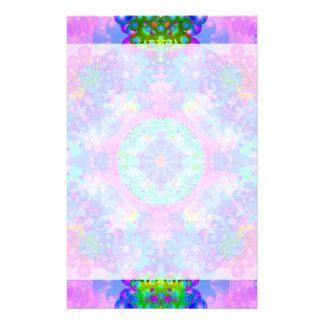 Purple and Green Kaleidoscope Fractal Stationery