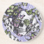 Purple and green lace butterfly skull case drink coaster