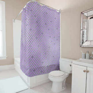 Purple and Green Mermaid Scales Shower Curtain