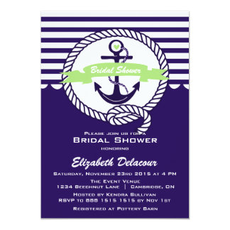 Purple and Green Nautical Bridal Shower Invitation