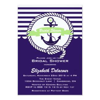 "Purple and Green Nautical Bridal Shower Invitation 5"" X 7"" Invitation Card"