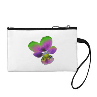 Purple and Green Pansy Bagettes Bag Change Purses