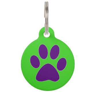 [Purple and Green] Paw Print Pet Name Tag