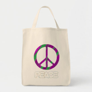 Purple and Green Peace Sign, Tote Bags