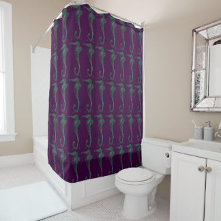 Purple and Green Seahorse Pattern Shower Curtain