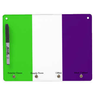 [Purple and Green] Striped Color-Block Dry Erase Board With Key Ring Holder