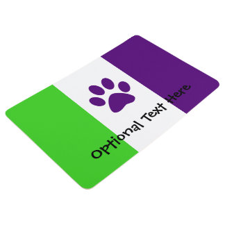 [Purple and Green] Striped Color-Block Floor Mat