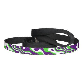 [Purple and Green] Swirls Op-Art Pet Lead
