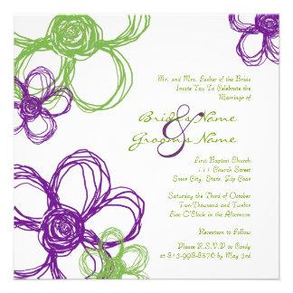 Purple and Green Wild Flowers Wedding Invitation