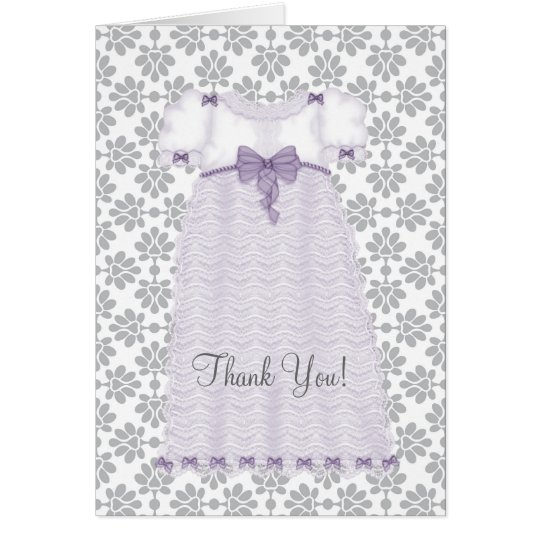 Purple and Grey Baby Shower Thank You Cards