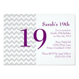 Purple and Grey Chevron Birthday Invitation