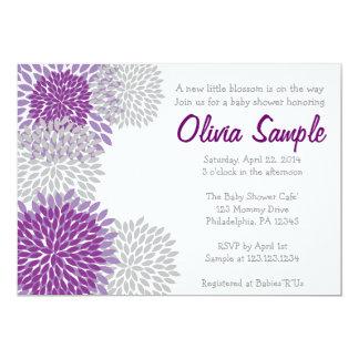 Purple and Grey Dahlia Baby Shower Invitation