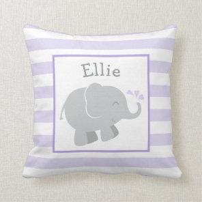 Purple and Grey Elephant | Kids Nursery Monogram Cushion