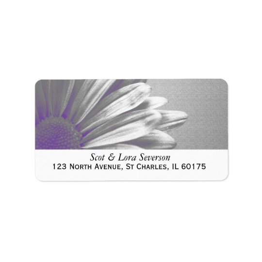 Purple and Grey Floral Highlights Return Address Label
