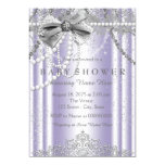 Purple and Grey Pearl Girly Baby Shower 13 Cm X 18 Cm Invitation Card