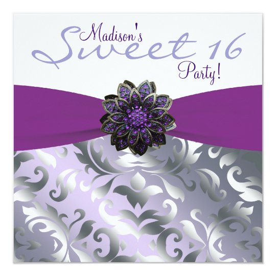 Purple and Grey Sweet 16 Birthday Party Card