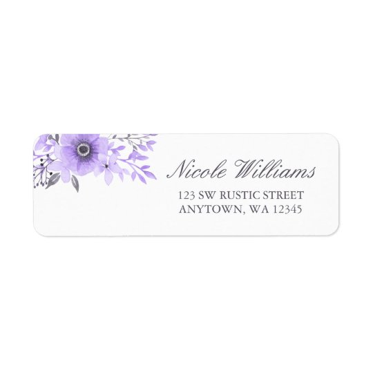 Purple and Grey Watercolor Floral Address Label
