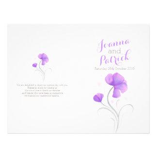 Purple and grey watercolor large wedding program 21.5 cm x 28 cm flyer