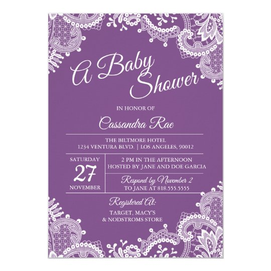 Purple and Lace Baby Shower Invitation
