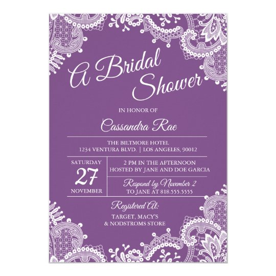 Purple and Lace Bridal Shower Invitation