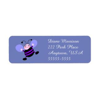 Purple and Lavender Cartoon Busy Bee Cute Return Return Address Label