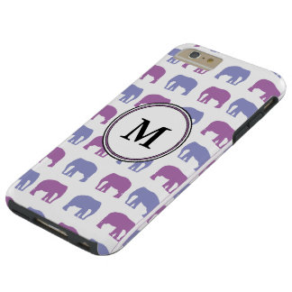 Purple and Lavender Elephants with Custom Monogram Tough iPhone 6 Plus Case