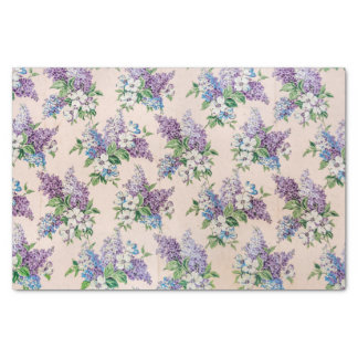"Purple and Lavender Lilacs on Vintage Wallpaper 10"" X 15"" Tissue Paper"