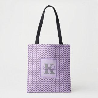 Purple and Lavender Pattern Monogram Tote