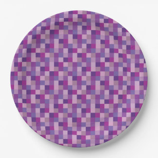 Purple and Lavender Pixelated Pattern 9 Inch Paper Plate