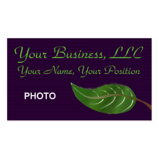 Purple and Leaf Photo Business Cards