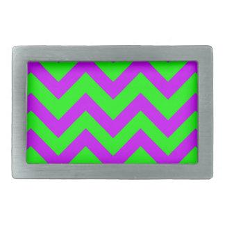 Purple And Light Green Chevrons Rectangular Belt Buckles