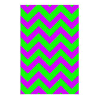 Purple And Light Green Chevrons Stationery Paper