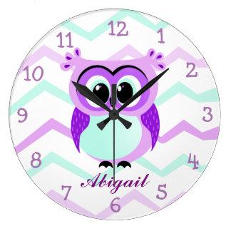 Purple and lilac baby owl cartoon wall clock