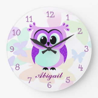 Purple and lilac mother and baby owl illustration clocks