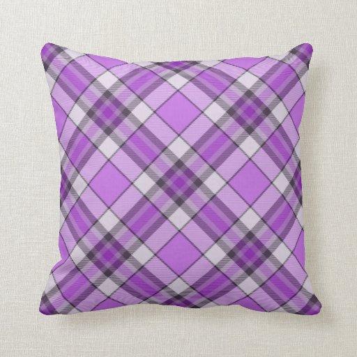 Purple And Lilac Tartan Cushion Pillows Zazzle