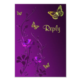 Purple and Lime Floral Butterflies Reply Card 9 Cm X 13 Cm Invitation Card