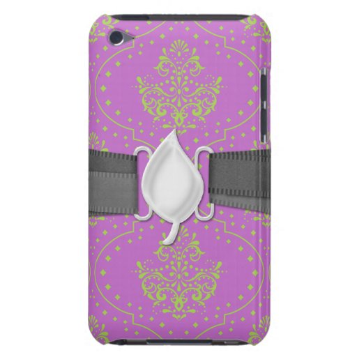 purple and lime green henna style damask Case-Mate iPod touch case