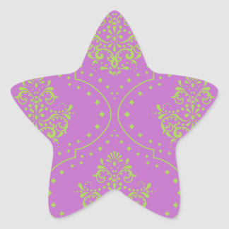 purple and lime green henna style damask star stickers