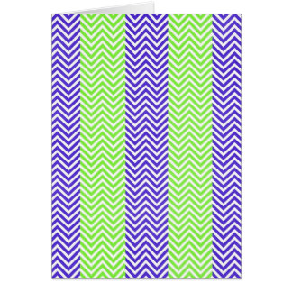 Purple and Lime Green Striped Chevron Zig Zags Greeting Card