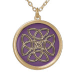 Purple and Metallic Gold Celtic Shield Knot Necklace