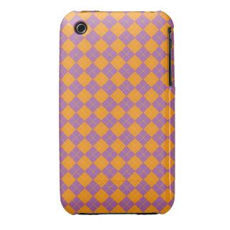 Purple and orange argyle Case-Mate iPhone 3 case