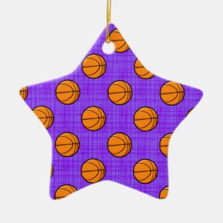 Purple and Orange Basketball Pattern Ceramic Star Decoration