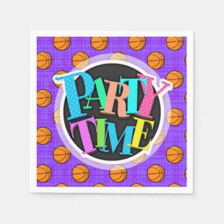 Purple and Orange Basketball Pattern Disposable Serviettes