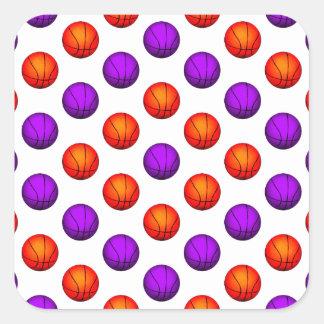 Purple and Orange Basketball Pattern Square Stickers